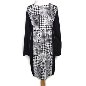 Cato Houndstooth Long Sleeve Knit Dress Size 14